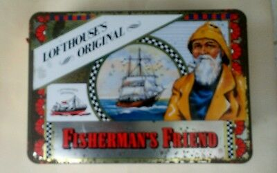 Vintage Lofthouse's Original Fishermans Friend Large Lithograph Tin Display Box
