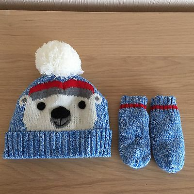 Baby Boy Hat And Mittens Size 3-6 Months