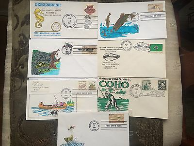 Fishing Topic Covers : 4 Hand colored First Day & 2 Handsome Fishing topic cover