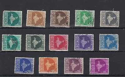 India. 14 -- 1957/8 Used Stamps On Stockcard