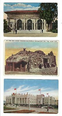 3 1915 Panama Pacific Yukon Exposition Picture Postcards - (K127)