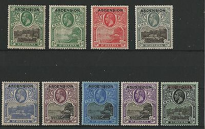 """Ascension 1922 Stamps of St. Helena of 1912 Overprinted """"ASCENSION"""" F/VF MH"""