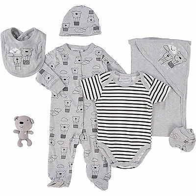 7 Piece Baby Boy Girl Teddy Layette Clothing & Toy Gift Set by Bonjour Bebe