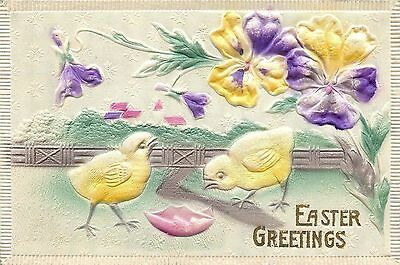 Easter~Purple Yellow Pansies~Chicks~Broken Egg Shell~Airbrushed~Gold~Emb~Germany
