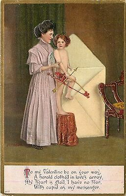Fantasy Valentine~Lady Helps Cupid On His Way~Exaggerated Envelope~Gold~Emboss