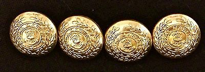 4 British WWI, WWII Royal Marines King's Crown 17mm Brass Button, new repro