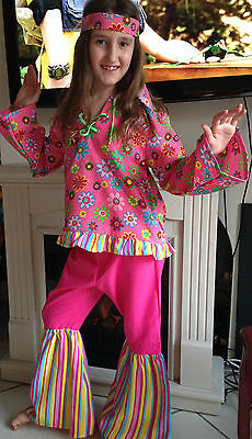 Gorgeous 60's fancy dress outfit top and flared trousers 10 years  140