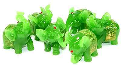 Feng Shui Set of 6 Jade Green Elephant Statues Wealth Lucky Figurines Home .