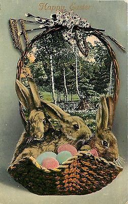Easter Rabbits~Wicker Basket Portal~Woodland Scene~Colored Eggs~Pussy Willows