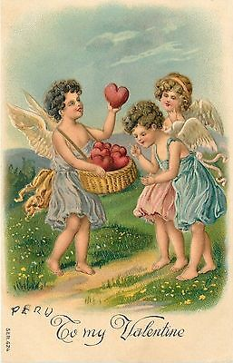 Valentine~Lavender Gossamer Cupid Sells Hearts to Pink Blue Cupids~Embos~Germany