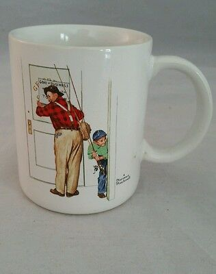Norman Rockwell Coffee Mug Closed For Business 1987 Fishing Dad and Son