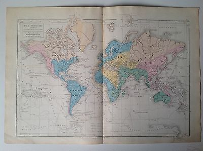 The World, Planisphere,1882 Antique Map, Eugene Belin, French Atlas