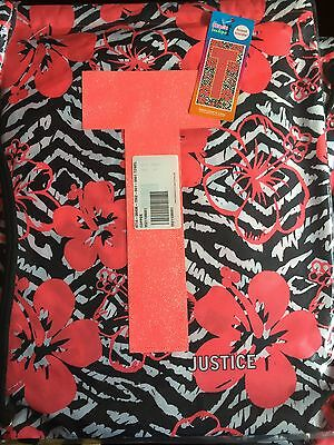 New! Justice Girls Black White & Pink Hibiscus Initial Beach Towel & Bag! T