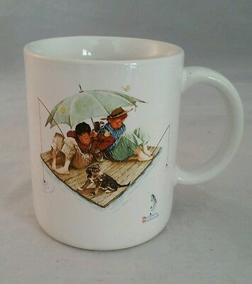Norman Rockwell Coffee Mugs Fisherman's Paradise Two Boys Fishing 1987