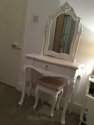 French style childs dressing table with mirror and stool