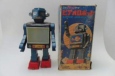 Rare Space Video Robot Battery Operated S.H. Horikawa Made in Japan 1960's Box