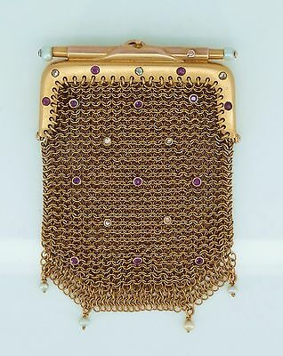 Stunning Victorian 9ct Gold Purse for Sovereigns Chatelaine Ruby Diamond Pearls
