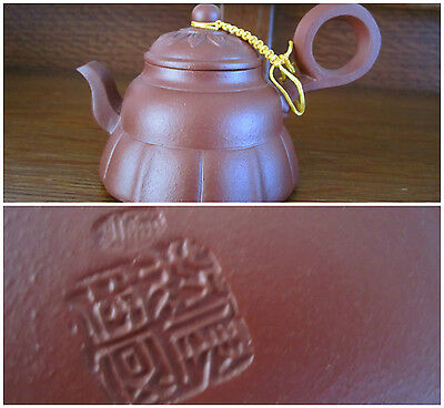 Small Asian Yixing Clay Teapot Signed