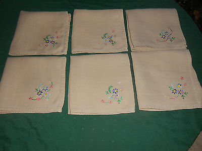 6 Beige Linen Napkins With Beautiful Hand Embroidery, Circa 1930