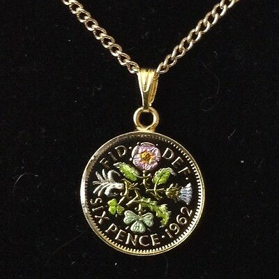 1962 Elizabeth II Enamelled Sixpence Coin Pendant. Black/gold/colour. 55th B'day