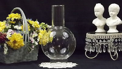 """Bulbous Chimney/globe 3"""" Fitter 11"""" Tall Clear Glass E-61"""