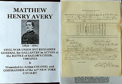 CIVIL WAR GENERAL SAILOR'S CREEK COLONEL 10th NEW YORK CAVALRY DOCUMENT SIGNED !
