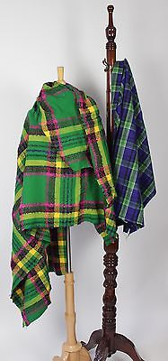 Two Pieces of Vintage Plaid Wool Fabric