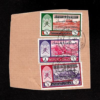 Muscat & Oman 1972 Selected Stamps To 1 Rial On Piece With & Without Overprint