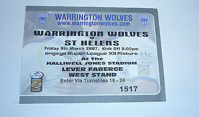 WARRINGTON WOLVES v St HELENS 9th MARCH 2007, WEST STAND TICKET