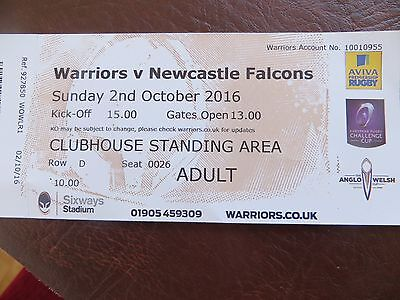 Worcester Warriors v Newcastle Falcons used ticket stub