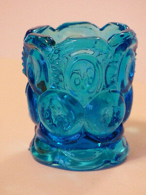 Vintage Blue Glass Moon and Stars Toothpick Holder