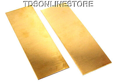 """Yellow Brass Sheet 16ga 6"""" x 2"""" 1.30mm Thick Package Of 2"""
