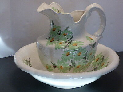 Antique Cash Family Wash Basin and Pitcher Green Daisies on Cream 1945