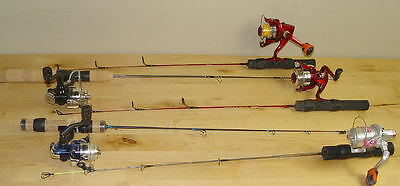 5 Ice Fishing Reels & Rods Poles Berkley Sub Zero Shakespeare Zebco Red Hot