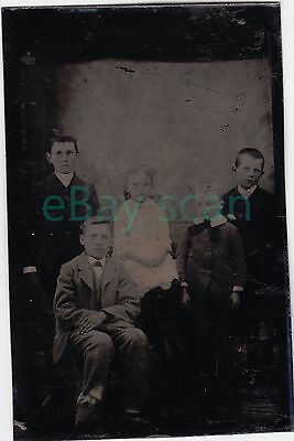 ANTIQUE TINTYPE #28 Children in Formal Pose Vintage Ferrotype Kids Youngsters