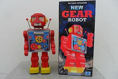 Rare New Gear Robot Battery Operated by RM Metal House Toys Made Japan Box