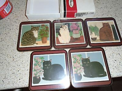 Pimpernel Drinks Coasters, Cats, 5 X Drinks Mats In Box