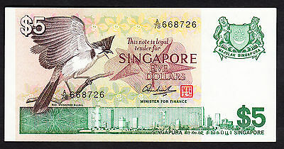 Singapore $5 ND 1976  P. 10 aUNC Note A/78