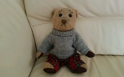 Hand Knitted Jumper for Teddy Bear - Grey Double Knit Wool - teddy clothes