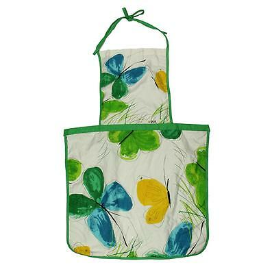 Vera 2591 Womens Green Cotton Floral/Butterfly Print Kitchen Apron O/S BHFO