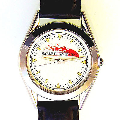 Harley Davidson Rare Fossil Silver White Dial Red Flame, Black Leather Band $129