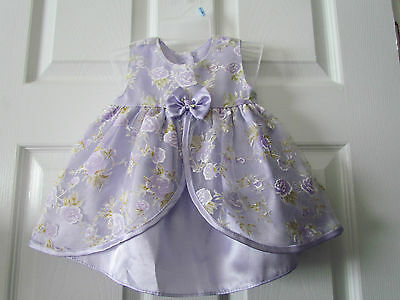 Pretty Lavender Floral Print Fancy Easter Church Baby Girl Dress Size 3-6 Months
