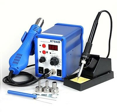 2in1  Rework Soldering Station Iron Welder Hot Air Gun & Tip with 878ad