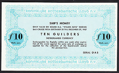 "Netherlands East Indies Rotterdam Lloyd ""Willem Ruys""  10 Guilders 1957 UNC Note"