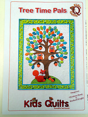 Kids Quilts Tree Time Pals Patchwork Applique Wall Quilt Pattern