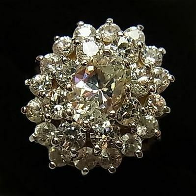 Stunning, Large, Vintage (1983) 9Ct Gold And Cz Dress Ring