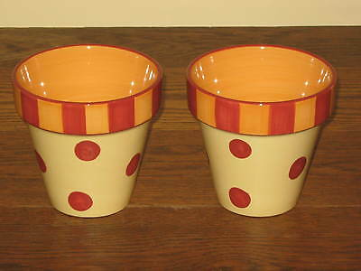 2 Hand Painted Pots Southern Living At Home Polka Dots Red Orange Gail Pittman
