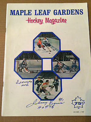 1967 Gump Worsley & Johnny Bower signed Maple Leafs Program (Habs vs Leafs)