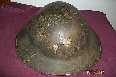 World War 1 Helmet With Goat Logo On Front Rare All Original Patina