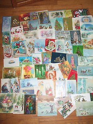 195 Used Vintage Christmas Cards Lot 1950s-1970s fronts as is scrapbooking